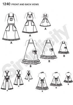 "1240 Simplicity Pattern: Aprons for Misses, Children and 45cm (18"") Doll"